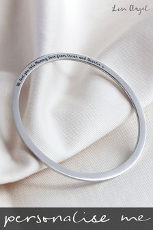 Personalised Engraved Silver Colour Bangle By Lisa Angel