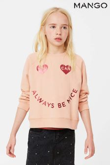 Mango Kids Pink Slogan Sweat
