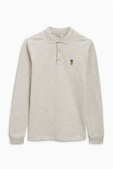 Long Sleeve Badge Poloshirt