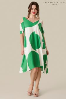 Live Unlimited Green Abstract Spot Trapeze Dress