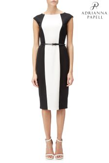 Adrianna Papell Black Colourblock Crepe Sheath Dress