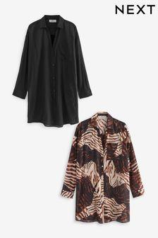 French Connection Dark Grey Susui Seersucker Jersey Dress