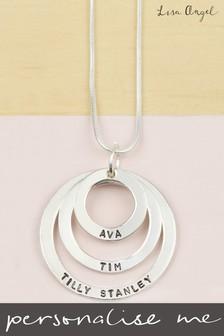 Personalised Sterling Silver Triple Hoop Family Necklace By Lisa Angel