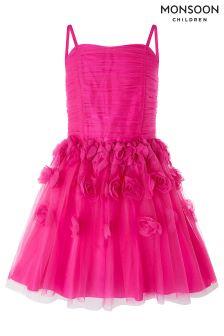 Monsoon Pink Rosalia Cascade Prom Dress