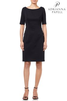 Adrianna Papell Black Micro Ottoman Lace Up Sheath Dress