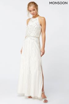 Monsoon Ivory Clara Embellished Maxi Dress