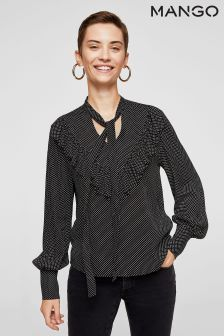 Mango Black Polk Dot Blouse