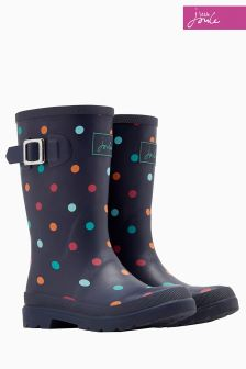 Joules Navy Tiny Spot Printed Welly
