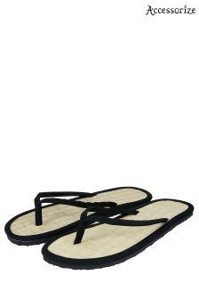 Accessorize Plain Black Seagrass Flip Flop