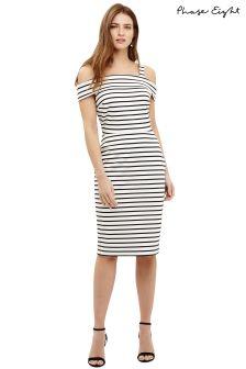 Phase Eight Ivory/Black Shauna Stripe Bardot Fitted Dress
