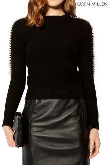 Karen Millen Black Embellished Sleeve Jumper