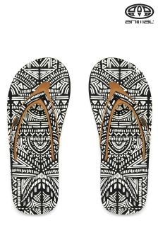 Animal Swish Slim Upper Black Printed Flip Flop