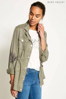 Mint Velvet Green Palm Leaf Embroidered Jacket