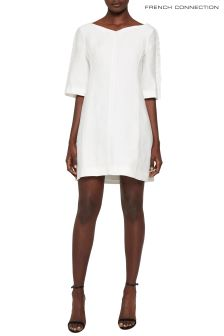 French Connection White Dominica Cluster 3/4 Sleeve Dress