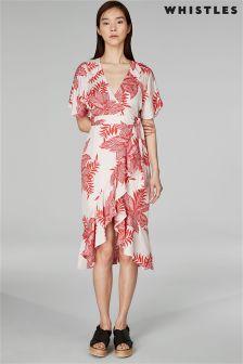 Whistles Palmyra Print Abigail Frill Wrap Dress