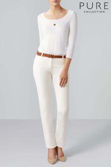 Pure Collection White Cotton Stretch Straight Leg Jean