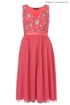French Connection Pink Palma Sparkle Sleeveless V-Neck Midi Dress