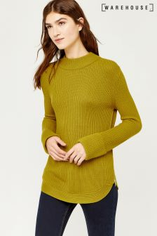 Warehouse Lime Green Rib Zip Side Jumper