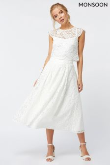 Monsoon Ivory Delilah Lace Skirt