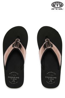 Animal Swish Upper Metallic Black Flip Flop