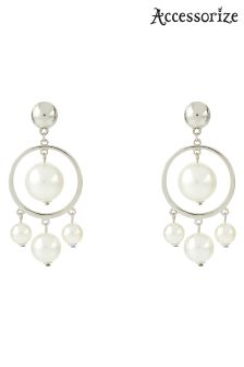 Accessorize Cream Multi Pearl Drop Hoops