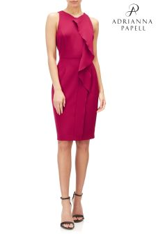 Adrianna Papell Pink Sheath Dress With Front Frill