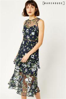 Warehouse Multi Anais Tiered Embroidered Midi Dress