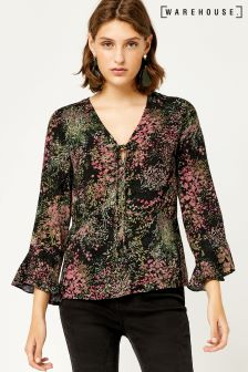 Warehouse Pink Wild Floral Top
