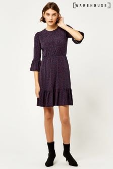 Warehouse Navy Tiered Spot Jersey Dress