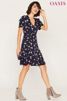 Oasis Blue Bird V Neck Drape Sleeve Dress
