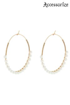 Accessorize Cream Pearl Hoop Earrings