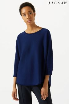 Jigsaw Blue Double Faced Scoop Jumper