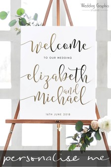 Personalised  Foiled Script Wedding Sign By Wedding Graphics