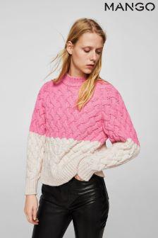 Mango Pink/Cream Knitted Jumper