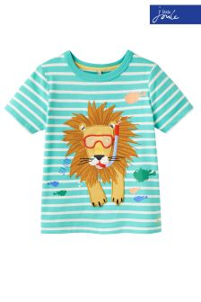 Joules Green Stripe Archie Applique Jersey T-Shirt