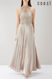 Coast Pink Petra High Neck Lace Maxi Dress