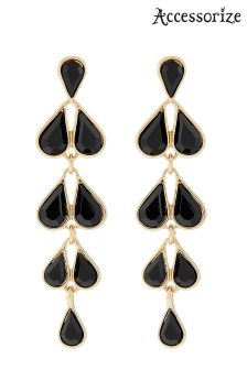 Accessorize Black Phoebe Teardrop Earrings