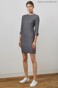 French Connection Blue And White Ribbed Dress