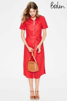 Boden Red Tie Waist Shirt Dress