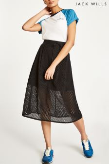 Jack Wills Black Oakleigh Lace Midi Skirt