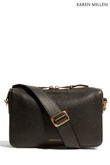 Karen Millen Black Three Compartment Shoulder Bag