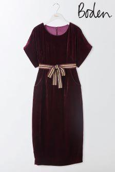 Boden Burgundy Robyn Velvet Dress