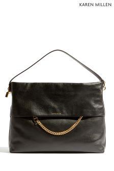 Karen Millen Black Chain Zip Bag