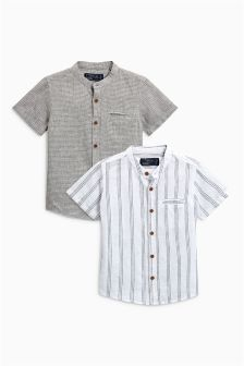 Short Sleeve Linen Blend Shirts Two Pack (3mths-6yrs)