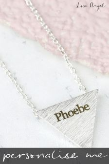 Personalised Silver Triangle Pendant Necklace By Lisa Angel