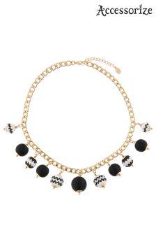 Accessorize Black Monochrome Bobble Collar Necklace