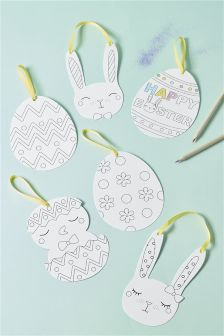Set of 6 Easter Colour In Decorations