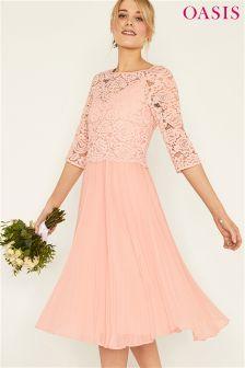 Oasis Pink Ellie 3/4 Sleeve Lace Top Pleated Midi Dress