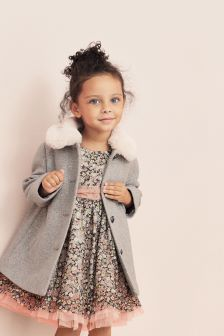 Faux Fur Collar Coat (12mths-5yrs)
