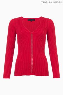 French Connection Red V-Neck Jumper